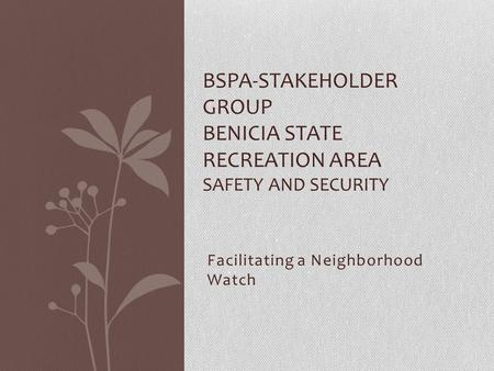 Facilitating a Neighborhood Watch BSPA-STAKEHOLDER GROUP BENICIA STATE RECREATION AREA SAFETY AND SECURITY.