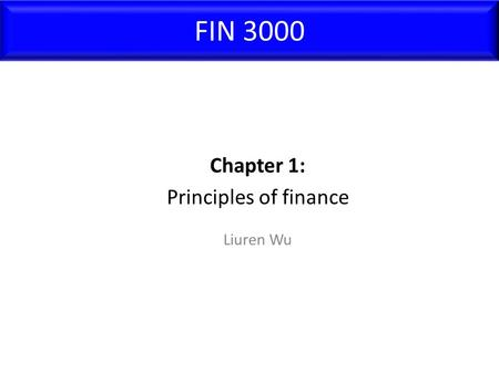 FIN 3000 Liuren Wu Chapter 1: Principles of finance.