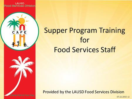 Supper Program Training for Food Services Staff