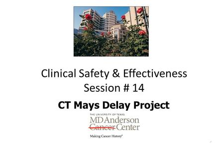 1 Clinical Safety & Effectiveness Session # 14 CT Mays Delay Project DATE.
