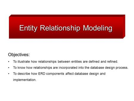 Entity Relationship Modeling Objectives: To illustrate how relationships between entities are defined and refined. To know how relationships are incorporated.