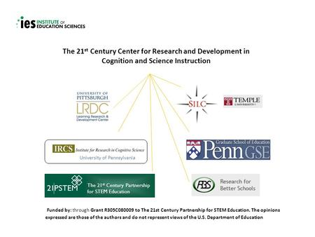 The 21 st Century Center for Research and Development in Cognition and Science Instruction Funded by: through Grant R305C080009 to The 21st Century Partnership.
