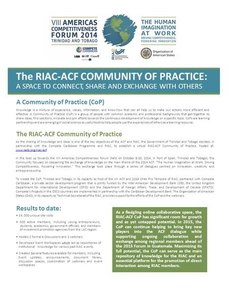The RIAC-ACF COMMUNITY OF PRACTICE: A SPACE TO CONNECT, SHARE AND EXCHANGE WITH OTHERS A Community of Practice (CoP) Knowledge is a mixture of experience,