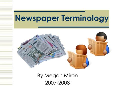 Newspaper Terminology
