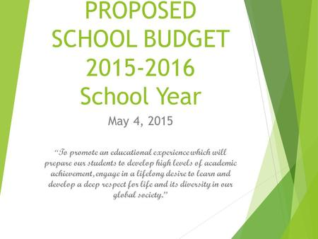 "PROPOSED SCHOOL BUDGET 2015-2016 School Year May 4, 2015 "" To promote an educational experience which will prepare our students to develop high levels."