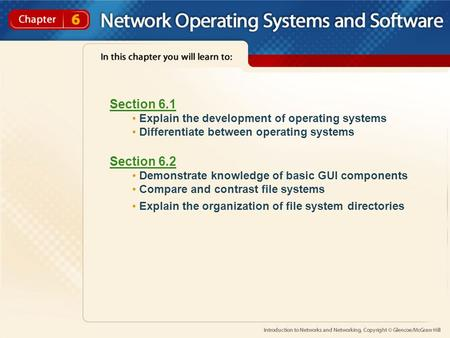 Section 6.1 Explain the development of operating systems Differentiate between operating systems Section 6.2 Demonstrate knowledge of basic GUI components.
