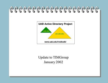 Update to TIMGroup January 2002. Outline Introduction Where are we now? Where are we going? What can be done to prepare? What are the options?