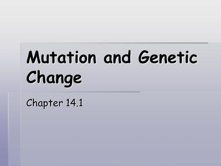 Mutation and Genetic Change