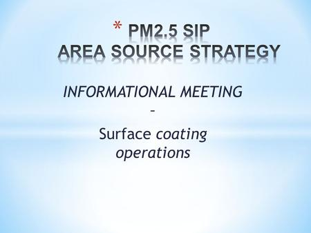 INFORMATIONAL MEETING – Surface coating operations.