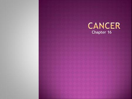 Chapter 16.  Leading cause of disease-related death among people under age 75  Second leading cause of death  Evidence supports that most cancers could.