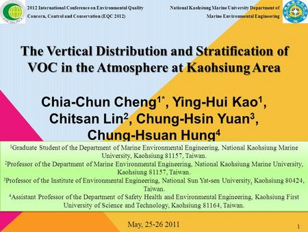 The Vertical Distribution and Stratification of VOC in the Atmosphere at Kaohsiung Area 2012 International Conference on Environmental Quality Concern,