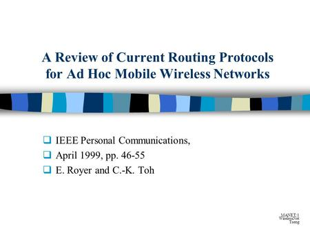 Ad hoc network introduction ppt
