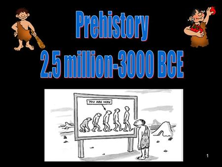 1. 2 Painted depiction of Early Humans 3 Prehistory Comparison Chart Paleolithic Age: 2.5 Million-8000 BCE Homo-Habilis  Cro-Magnon Neolithic Age: 8000-3000.