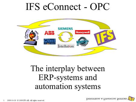 1999-04-061 © 1999 IFS AB. All rights reserved. IFS eConnect - OPC The interplay between ERP-systems and automation systems.