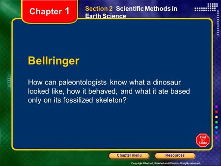 Chapter 1 Section 2  Scientific Methods in Earth Science Bellringer