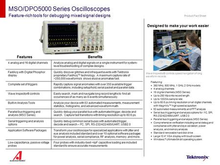 MSO/DPO5000 Series Oscilloscopes Feature-rich tools for debugging mixed signal designs Designed to make your work easier Wave Inspector® controls speed.