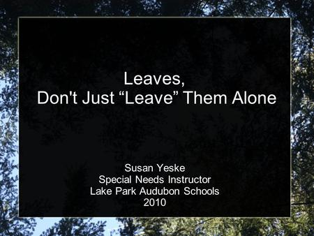 "Leaves, Don't Just ""Leave"" Them Alone Susan Yeske Special Needs Instructor Lake Park Audubon Schools 2010."