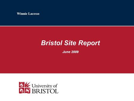 Winnie Lacesso Bristol Site Report June 2009. 2 Staff & Users Departmental Physics / Networks: JP Melot, Neil Laws (Microsoft); Rhys Morris (Astrophysics.