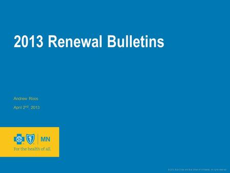 © 2012 Blue Cross and Blue Shield of Minnesota. All rights reserved. 2013 Renewal Bulletins Andrew Roos April 2 nd, 2013.