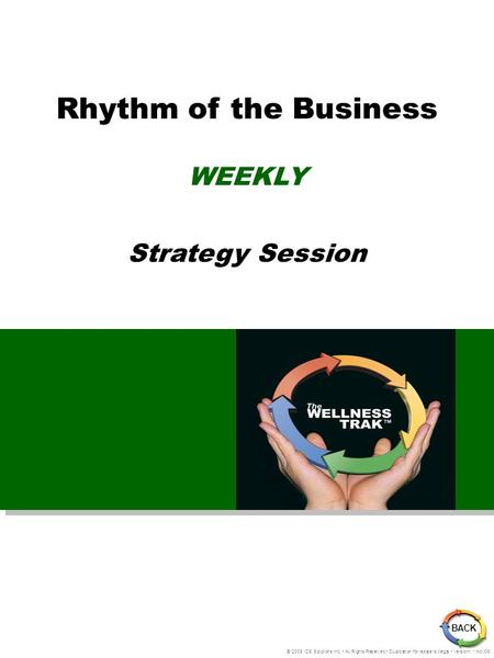 Rhythm of the Business WEEKLY Strategy Session © 2005 IDS Solutions Inc. All Rights Reserved Duplication for resale is illegal Version1.1 Nov06 BACK.