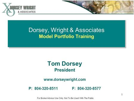 Dorsey, Wright & Associates Model Portfolio Training