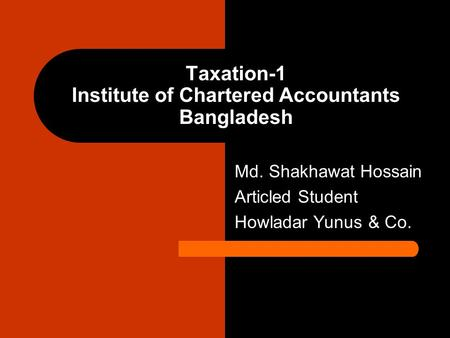 Taxation-1 Institute of Chartered Accountants Bangladesh