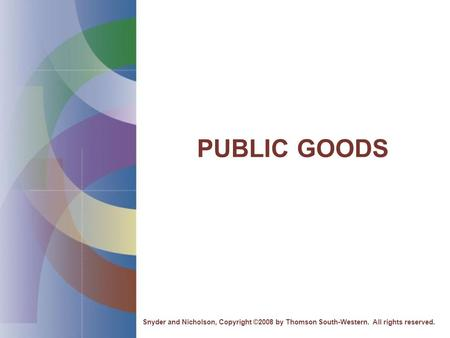 PUBLIC GOODS Snyder and Nicholson, Copyright ©2008 by Thomson South-Western. All rights reserved.