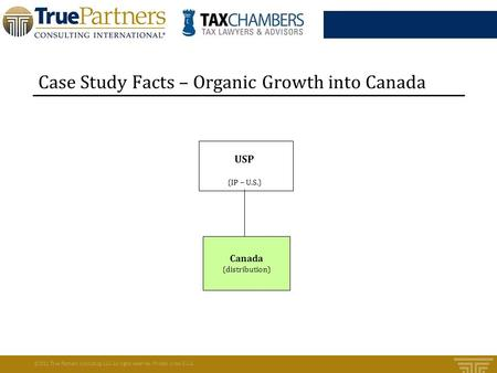 Case Study Facts – Organic Growth into Canada ©2011 True Partners Consulting LLC. All rights reserved. Printed in the U.S.A. Canada (distribution) (IP.