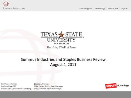 Summus Industries and Staples Business Review August 4, 2011 Summus Industries Staples Advantage Rodney Craig, CEO Mike Carter, District Sales Manager.