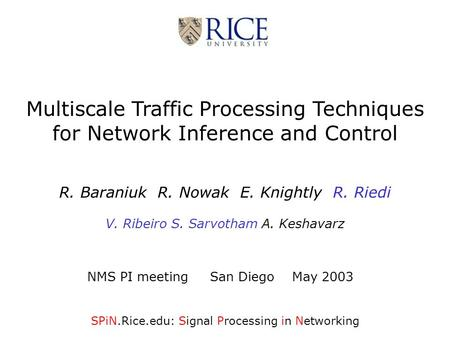 Multiscale Traffic Processing Techniques for Network Inference and Control R. Baraniuk R. Nowak E. Knightly R. Riedi V. Ribeiro S. Sarvotham A. Keshavarz.