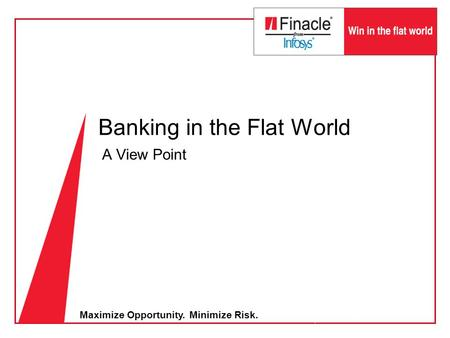 Maximize Opportunity. Minimize Risk. Banking in the Flat World A View Point.