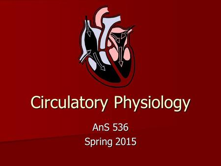Circulatory Physiology AnS 536 Spring 2015. Development of the Circulatory System 1st functional organ system – heart is functional when embryo is 2 mm.