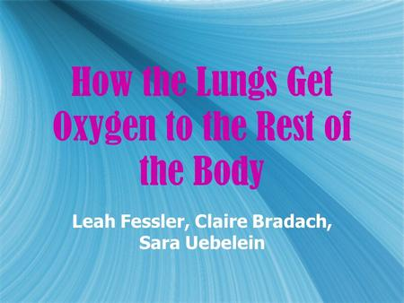 How the Lungs Get Oxygen to the Rest of the Body Leah Fessler, Claire Bradach, Sara Uebelein.