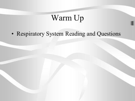 Warm Up Respiratory System Reading and Questions.