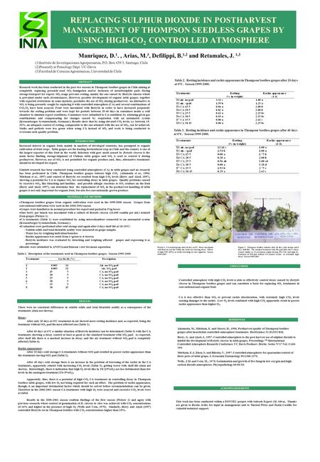 REPLACING SULPHUR DIOXIDE IN POSTHARVEST MANAGEMENT OF THOMPSON SEEDLESS GRAPES BY USING HIGH-CO 2 CONTROLLED ATMOSPHERE Manriquez, D. 1., Arias, M. 3,