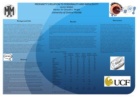 PROFANITY'S RELATION TO PERSONALITY AND IMPULSIVITY Jasmin Mokbel Mentor: Dr. Chrysalis L. Wright University of Central Florida Results Correlation analysis.