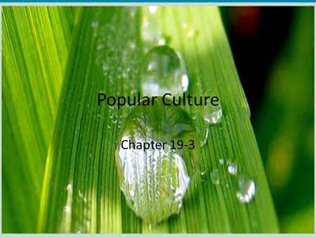 Popular Culture Chapter 19-3. New Era of the Mass Media Compared with other mass media-means of communication that reached large audiences-television.