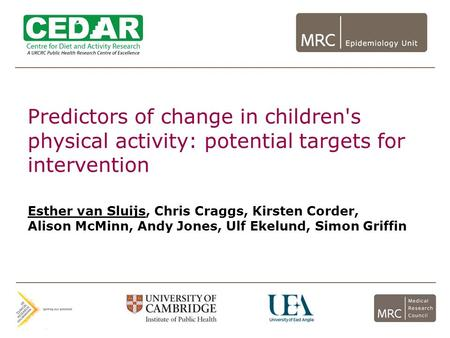 Predictors of change in children's physical activity: potential targets for intervention Esther van Sluijs, Chris Craggs, Kirsten Corder, Alison McMinn,