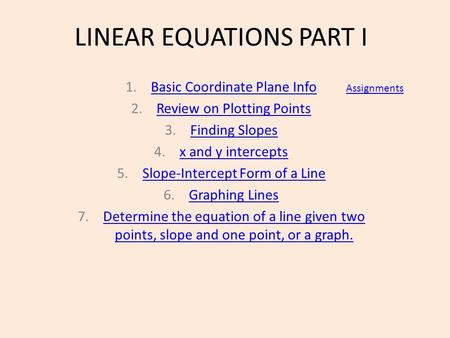 LINEAR EQUATIONS PART I 1.Basic Coordinate Plane InfoBasic Coordinate Plane Info 2.Review on Plotting PointsReview on Plotting Points 3.Finding SlopesFinding.