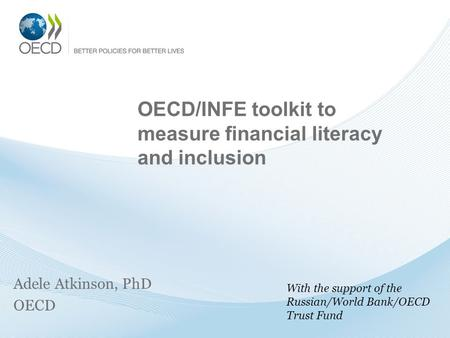 OECD/INFE toolkit to measure financial literacy and inclusion