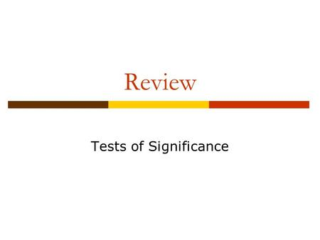 Review Tests of Significance. Single Proportion.
