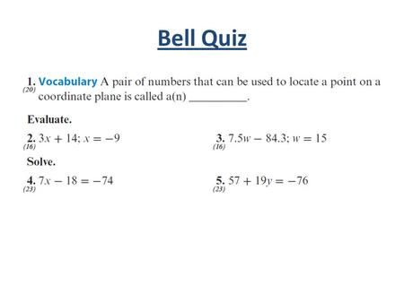 Bell Quiz. Objectives Learn to find the x- and y-intercepts of a linear equation algebraically. Locate x- and y-intercepts on a graph, and use them to.