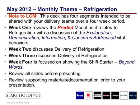 1May 2012 Monthly Theme May 2012 – Monthly Theme – Refrigeration Note to LCM: This deck has four segments intended to be shared with your delivery teams.