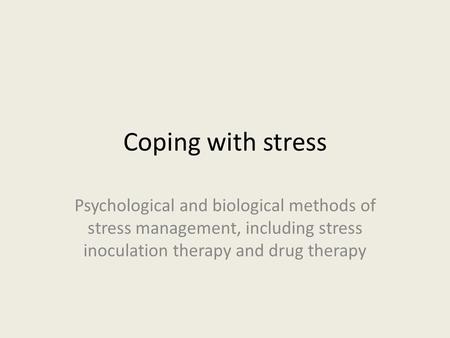coping with academic stress