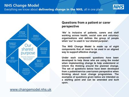 Questions from a patient or carer perspective www.changemodel.nhs.uk 'We' is inclusive of patients, carers and staff working across health, social care.
