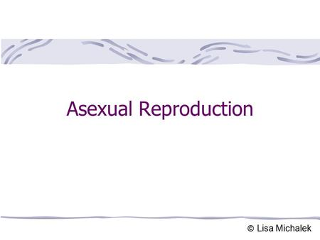 Asexual Reproduction © Lisa Michalek. Asexual Reproduction Results from the mitotic cell division (Mitosis). One cell (parent cell) divides into two identical.