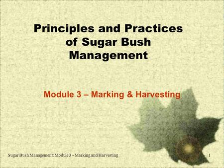 Sugar Bush Management: Module 3 - Marking and Harvesting1 Principles and Practices of Sugar Bush Management Module 3 – Marking & Harvesting.