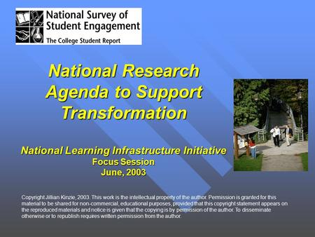 National Research Agenda to Support Transformation National Learning Infrastructure Initiative Focus Session June, 2003 Copyright Jillian Kinzie, 2003.
