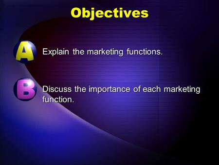 Objectives Explain the marketing functions. Discuss the importance of each marketing function.