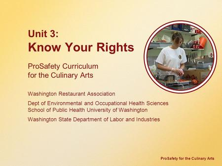 ProSafety for the Culinary Arts Unit 3: Know Your Rights ProSafety Curriculum for the Culinary Arts Washington Restaurant Association Dept of Environmental.
